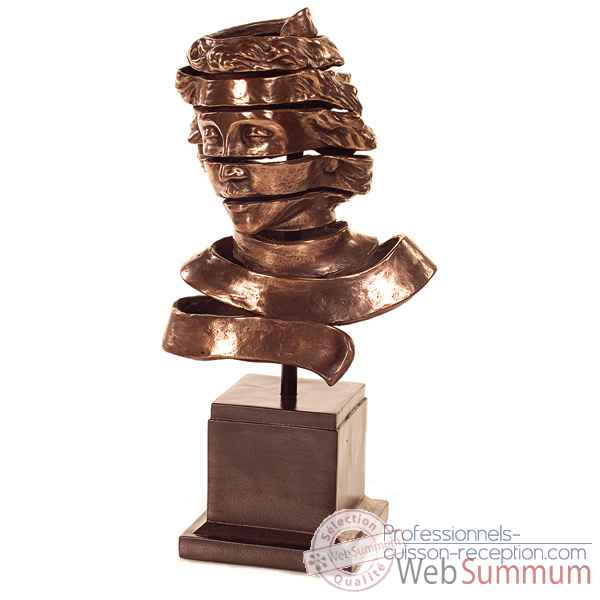 Sculpture-Modele Ribbon Head Bust, surface bronze nouveau et fer-bs1728nb/iro