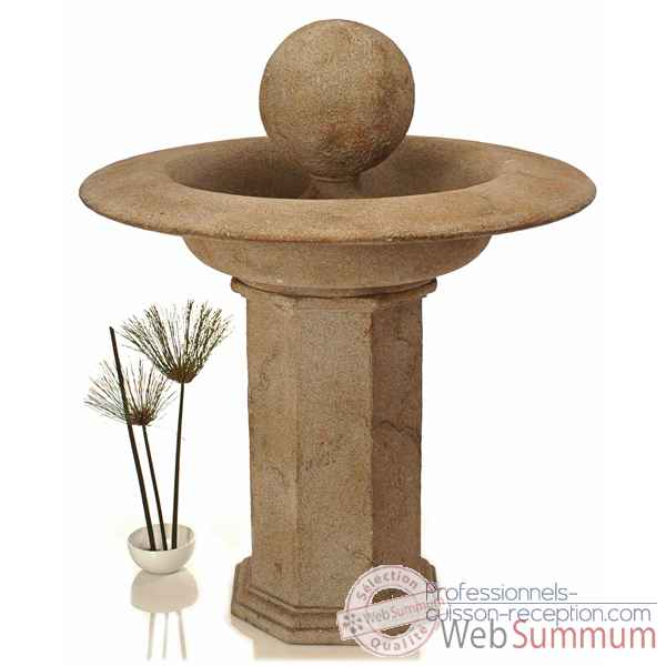 Fontaine-Modèle Carva Ball Fountain on Octagonal Pedestal, surface granite-bs4066gry