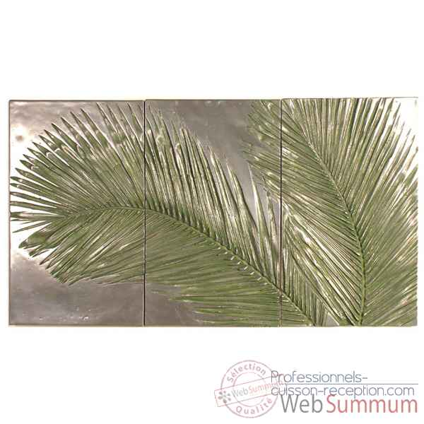 Decoration murale-Modele Palm Triptych, surface aluminium-bs4128alu