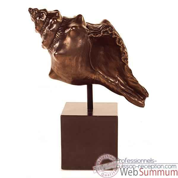 Sculpture Conch Table Sculture Box Pedestal, bronze nouveau et fer -bs1715nb -iro