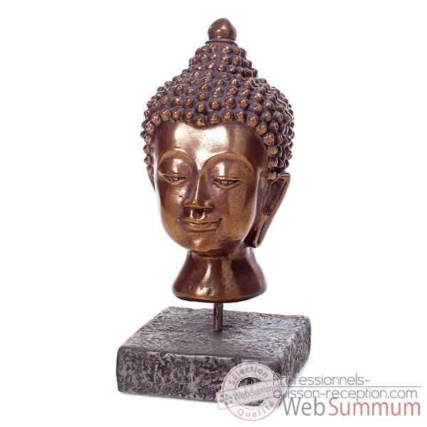 Sculpture Buddha Head, gres combines fer -bs3139gry -iro
