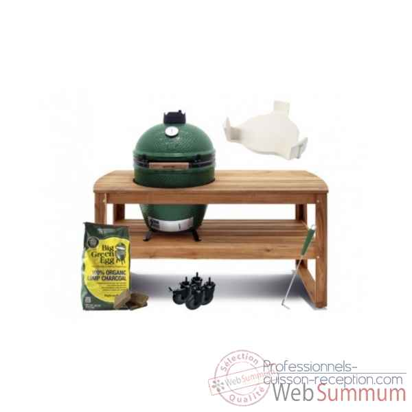 Barbecue multifonction Kamado EGG- large Pack Original table acacia Big Green Egg -PACORTA-L