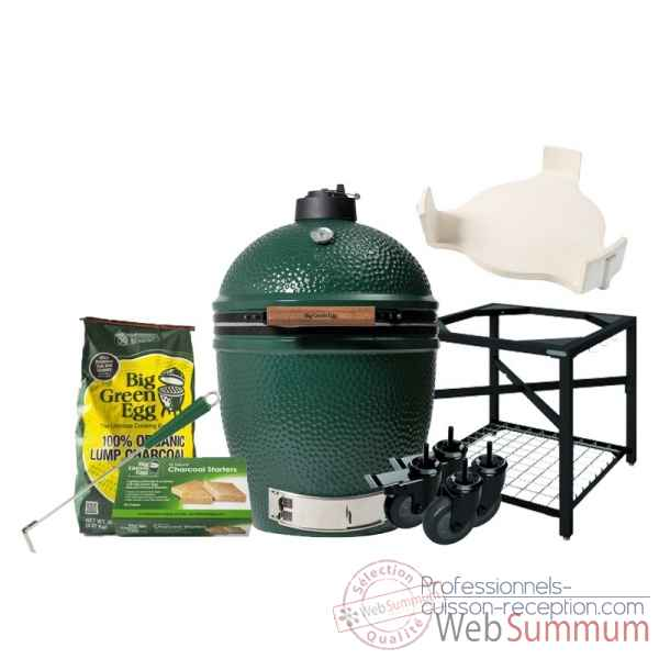 Barbecue multifonction Kamado EGG- large -Pack Original table modulaire Big Green Egg -PACORTM-L