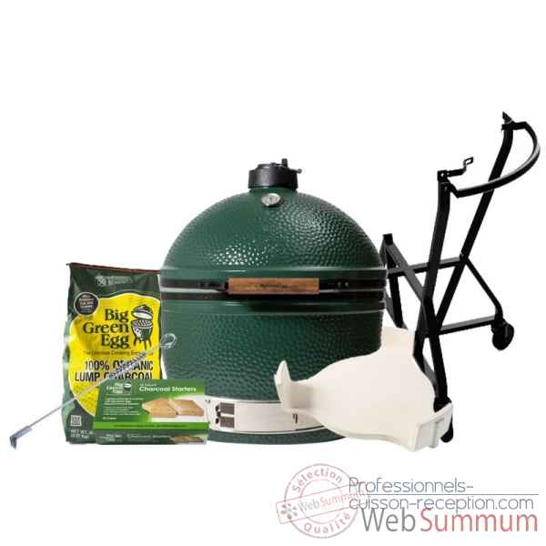 Barbecue EGG multifonction Kamado xlarge Pack Original chariot Big Green Egg -PACORCH-XL