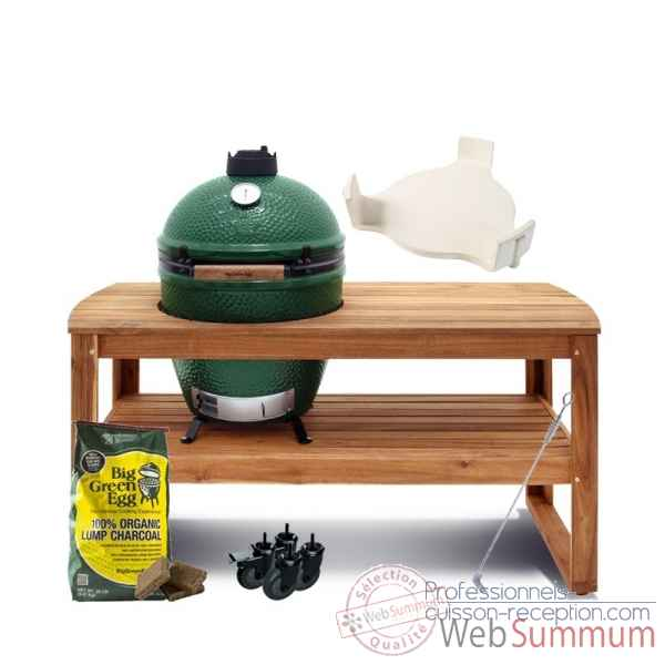 Barbecue multifonction Kamado EGG- xlarge -Pack Original table acacia Big Green Egg -PACORTA-XL