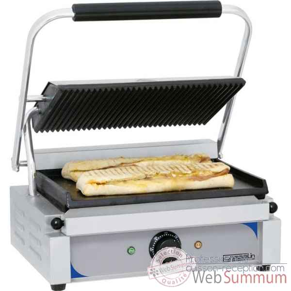 Grill panini grand premium rainuree - lisse avec minuteur meuble de preparation - casselin -CGPRLGPT