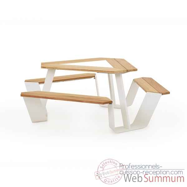 Table picnic anker cadre galvanise & pieds laques blanc, iroko Extremis -ANWI