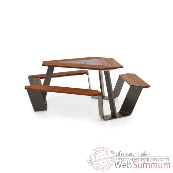 Table picnic anker cadre galvanise & pieds laques earth h.o.t.wood Extremis -ANEH