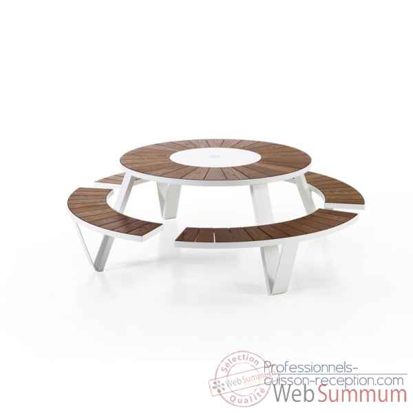 Table picnic pantagruel cadre & pieds laque blang, iroko Extremis -PAWI