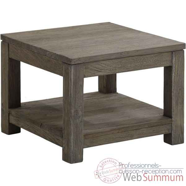 Table basse carree pm drift Teck Recycle gris brosse KOK M39G