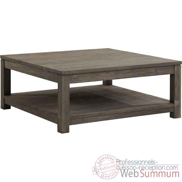 Table basse carree gy drift Teck Recycle gris brosse KOK M41G