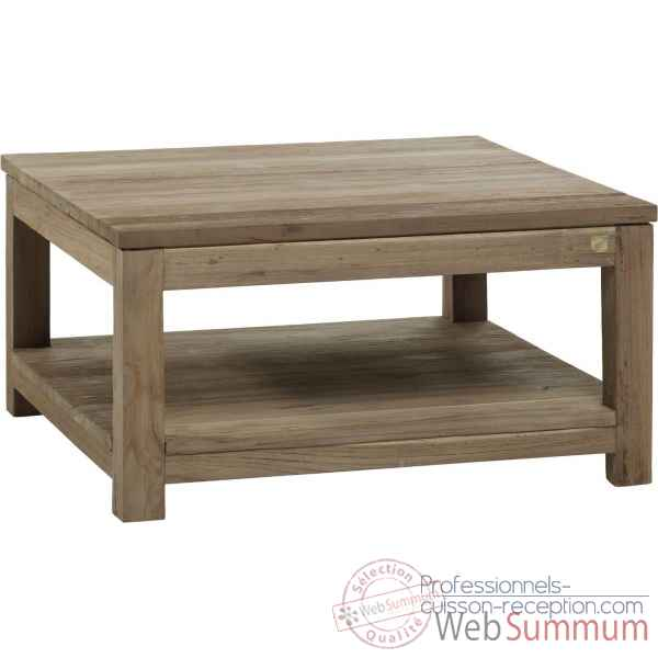 Table basse carree mm drift Teck Recycle naturel brosse KOK M40N